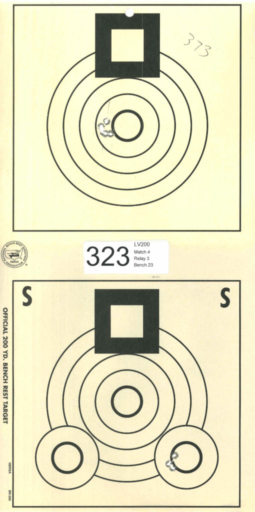 "Benchrest rifle target shot in a calm tail wind - 0.373"" 5-shot group at 200 yards"